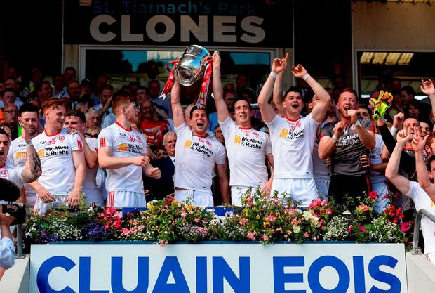 Tyrone's Sean Cavanagh lifts the Anglo Celt Cup after their win over Donegal. Photo by Oliver McVeigh/Sportsfile