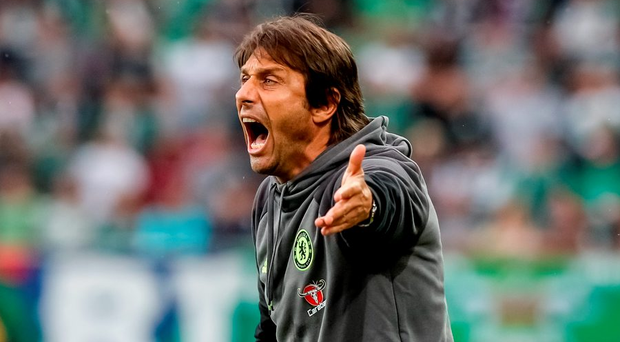 Antonio Conte barks out the orders during Saturday's match. Photo: Matej Divizna/Getty Images