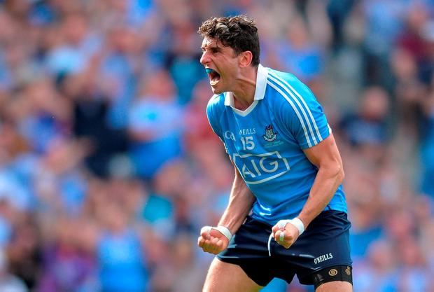 Bernard Brogan shows his delight after scoring Dublin's first goal against Westmeath. Photo by Eóin Noonan/Sportsfile