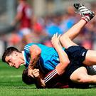 Dublin's Diarmuid Connolly tussles with James Dolan of Westmeath in Croke Park. Photo by David Maher/Sportsfile
