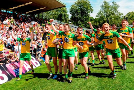 Donegal minor players celebrate their Ulster MFC final victory. Photo by Oliver McVeigh/Sportsfile