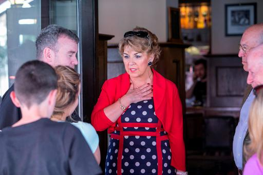 Irish Ambassador to France Geraldine Byrne Nason chatting with Irish holidaymakers in Nice. Photo: Kyran O'Brien