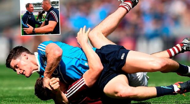 Diarmuid Connolly and James Dolan tussle and (inset) Jim Gavin and Tom Cribben after the match