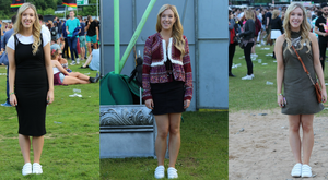 Amy in her three budget-friendly festival outfits