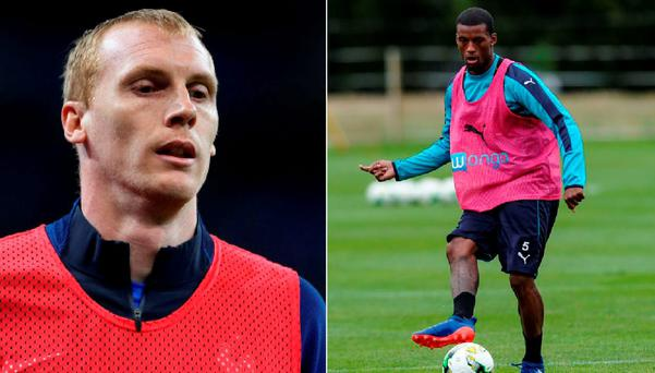 Jeremy Mathieu and (right) Georginio Wijnaldum