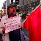 A man protests outside the Lehman Brothers building in New York on September 15, 2008, as the bank filed for bankruptcy. The previous generation allowed zero-regulation capitalism to run rampant Photo: REUTERS/Joshua Lott