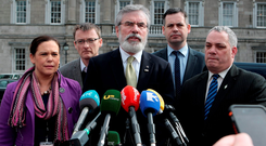 Sinn Féin president Gerry Adams (centre) with, from left, party TDs Mary Lou McDonald, David Cullinane, Pearse Doherty and Aengus Ó Snodaigh. Many SF figures still find it very difficult to countenance life without Adams at the top Photo: Tom Burke