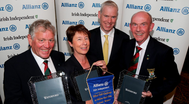 Winners: Nuremore president Peadar Gilsenan, lady captain Barbara Holland and captain Liam Daly with Allianz Director of Sales Peter Kilcullen.