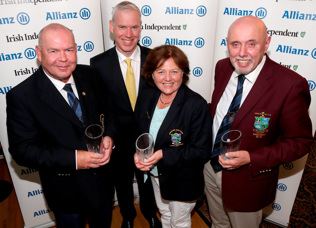 Fourth: Donabate captain Liam Bridgette, lady captain Deirdre Reid and president Pat McNeill with Peter Kilcullen of Allianz.