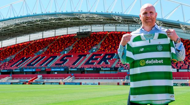 John Hartson at Thomond Park to promote Celtic's match against Inter Milan on August 13 Photo: Piaras Ó Mídheach/Sportsfile