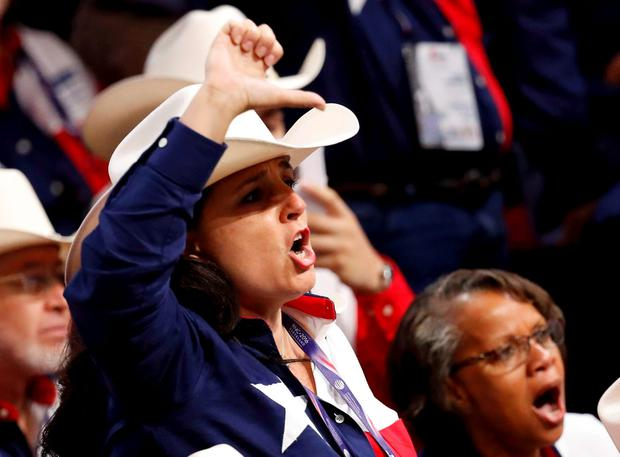 A Texas delegate yells after the temporary chairman of the Republican National Convention announced that the convention would not hold a roll-call vote on the Rules Committee's report and rules changes and rejected the efforts of anti-Trump forces to hold such a vote at the Republican National Convention in Cleveland. Photo: REUTERS/Jim Young