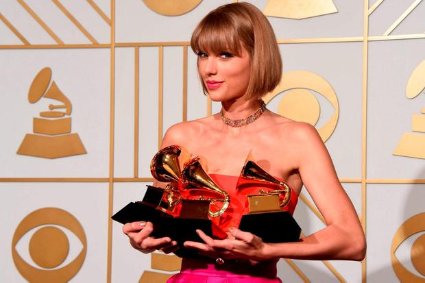 Taylor Swift pictured at the the 58th Grammy Awards, at the Staples Center in Los Angeles, California. Photo: Mark Ralstonmark