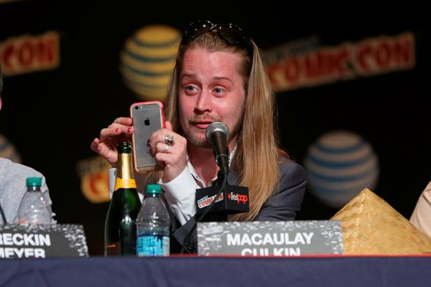 Actor Macaulay Culkin spakes at the Adult Swim Panel: Robot Chicken. Adult Swim at New York Comic Con 2015 at the Jacob Javitz Center on October 9, 2015 in New York, United States. 25749_002 418.JPG (Photo by Cindy Ord/Getty Images For Turner)