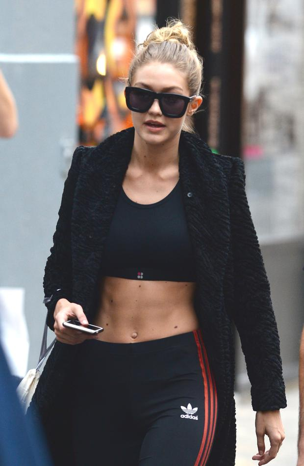 Model Gigi Hadid is seen ot the GYM in Soho on November 6, 2015 in New York City. (Photo by Raymond Hall/GC Images)