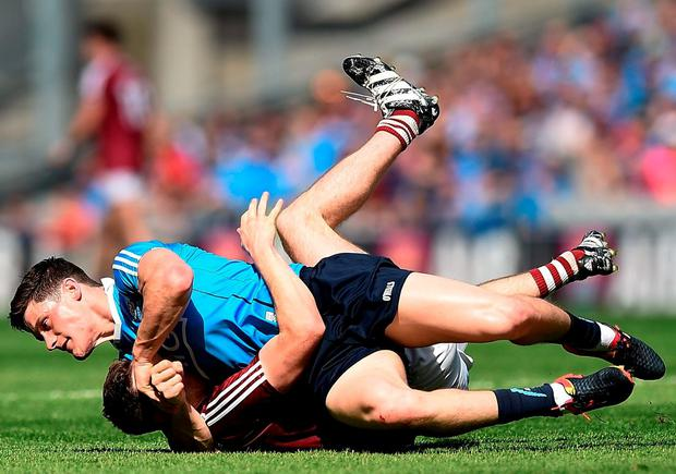 Diarmuid Connolly tussling with James Dolan of Westmeath during the Leinster final last Sunday. Photo by David Maher/Sportsfile