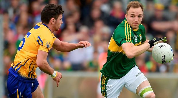 Kerry forward Darran O'Sullivan in action against Cian O'Dea of Clare during their Munster SFC semi-final at Fitzgerald Stadium in Killarney – the teams could meet again in the All-Ireland quarter-final. Photo by Diarmuid Greene/Sportsfile