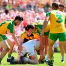 'Never before in Ulster SFC history have four successive finals yielded so few goals and since Donegal are the common denominator in all of them, it has to be attributed to their defensive approach.' Photo by Ramsey Cardy/Sportsfile