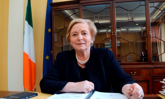 Tánaiste Frances Fitzgerald at her desk in her office in Government Buildings, Merrion Street, Dublin. Picture: Caroline Quinn