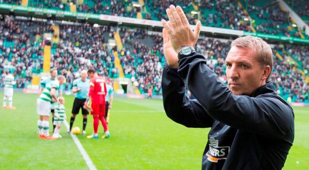 Brendan Rodgers and Celtic need to overturn a first-leg deficit against Lincoln Red Imps. Photo: Jeff Holmes/PA Wire. EDITORIAL USE ONLY