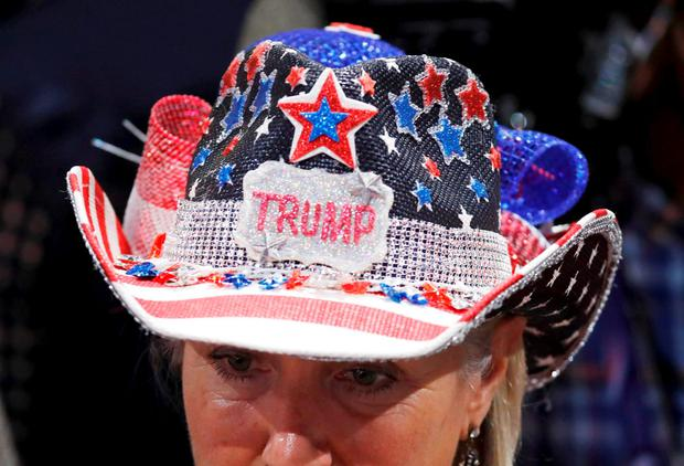 A delegate with a beaded Trump hat is seen at the Republican National Convention in Cleveland, Ohio