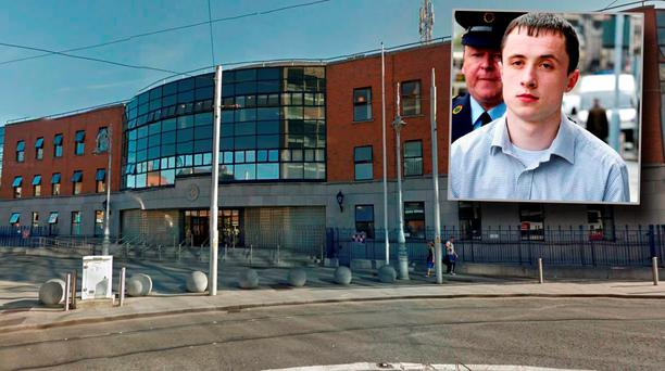 Store Street Garda Station and inset Mark Bissett at a previous court hearing