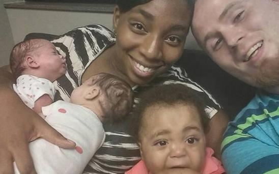 Danesha Couch and Jeffrey Pressler with three of their children CREDIT: DANESHA COUCH