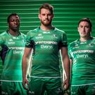 Denis Buckley, Jake Heenan and Niyi Adeolokun model the new Connacht strip. Credit: Connacht Rugby Twitter Account