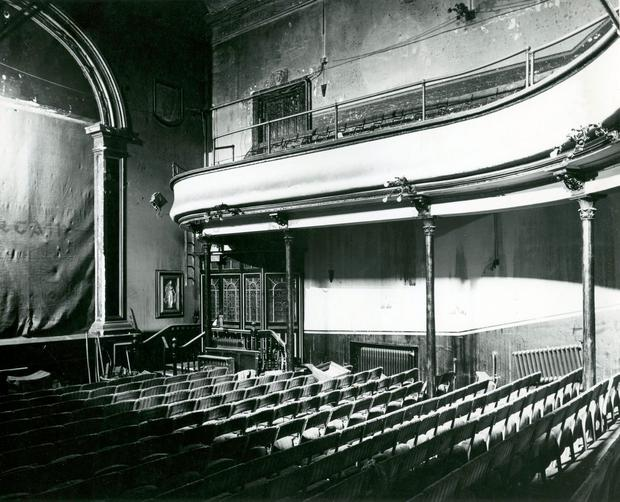 1951: Picture shows aftermath of Abbey Theatre Fire in the auditorium - which shows how effective the fire curtain on the stage was. It was mostly water damage in the auditorium after the fire.