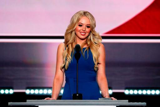 Daughter of Donald Trump, Tiffany Trump, delivers a speech on the second day of the Republican National Convention