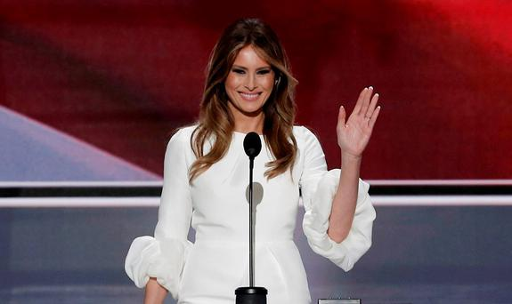 Melania Trump, wife of Republican U.S. presidential candidate Donald Trump, waves as she arrives to speak at the Republican National Convention in Cleveland
