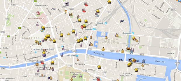 Dublin City Centre Pokemon Go Pokedex. Source: Mawla