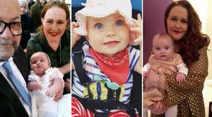Pictured (left): June with her husband Tony and their daughter Clodagh, (middle) Baby Clodagh, (right) June and Clodagh