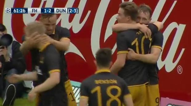 Dundalk players celebrate David McMillan's second goal