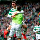 Patrick Roberts celebrates after scoring the third goal for Celtic Action Images via Reuters / Russell Cheyne