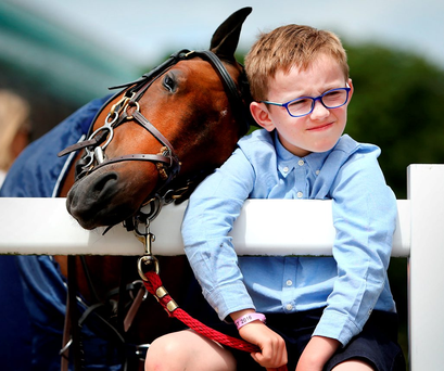 James Derwin (7) from Athlone takes a break with Yorkie, a 128cm Jumping Pony at the Dublin Horse Show in the RDS Photo: Gerry Mooney
