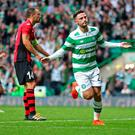 Patrick Roberts celebrates after scoring the third goal for Celtic Picture: Reuters