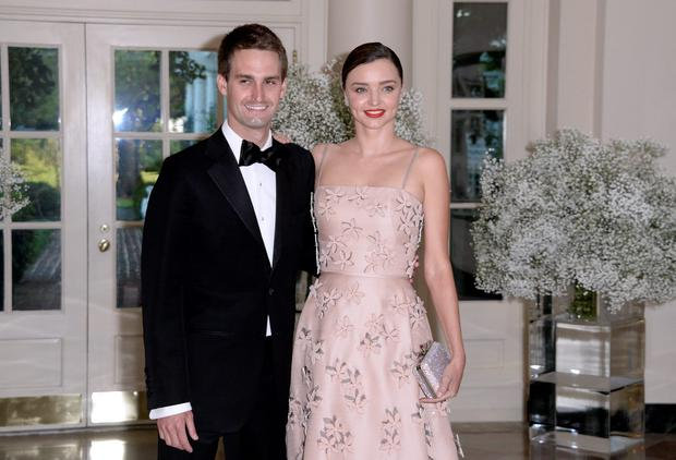 Miranda Kerr and her Snapchat CEO Evan Spiegel arrive at the state dinner in honor of President of Finland and the Prime Ministers of Norway, Sweden