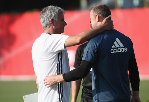Manager Jose Mourinho and Wayne Rooney of Manchester United