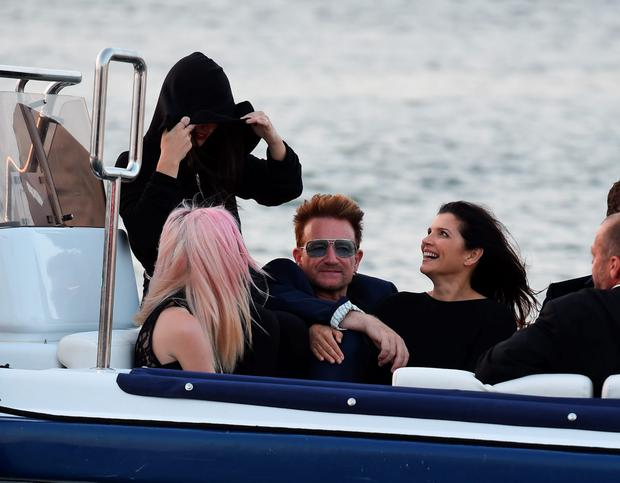 U2 frontman Bono is seen at Saint Tropez port with his family heading to the Leonardo DiCaprio Foundation dinner. Picture: Neil Warner Sirc / Splash News