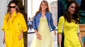 (L to R) Victoria Beckham, Blake Lively and Kate Middleton in yellow