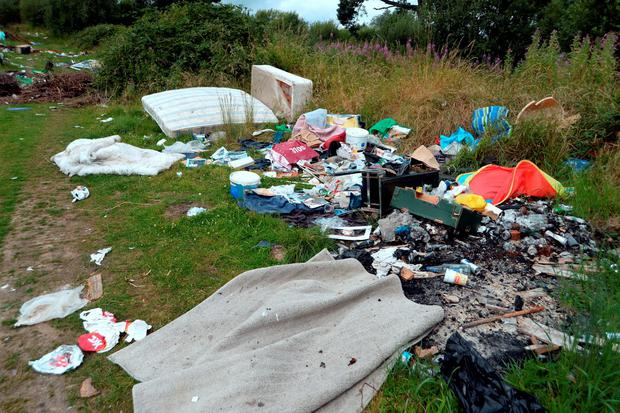 21 July 2016: General view of rubbish dumped on land off the R774 (near entrance to Shoreline Leisure Charlesland/Go Gym) in Charlesland area of Wicklow. Picture: Caroline Quinn