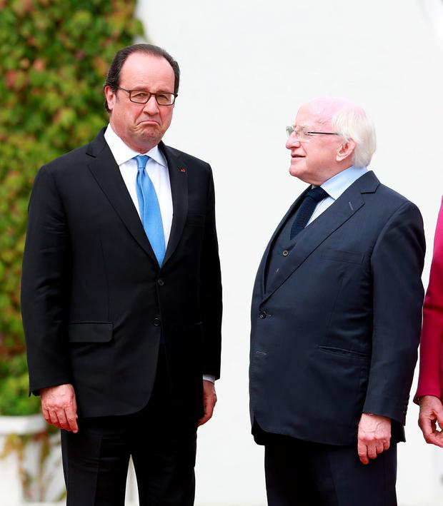 President Michael D Higgins pictured with President of the French Republic Francois Hollande during the French President's visit to Aras an Uachtarain. Picture Credit : Frank Mc Grath