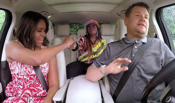 Michelle Obama, Missy Elliott and James Corden on Carpool Karaoke. Photo: CBS