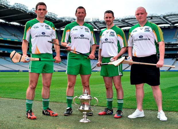Clare's James McInerney, former Tipp hurler Brendan Cummins, Galway's Colm Callanan and Setanta's Darren Renehan, who finished second recently in the Leinster Poc Fada, at the launch of the M Donnelly All-Ireland Poc Fada at Croke Park. Pic: David Maher/Sportsfile