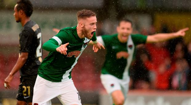 Kevin O'Connor of Cork City celebrates after scoring his side's first goal during the UEFA Champions League Second Qualifying Round 2nd Leg match between Cork City and BK Hacken at Turners Cross in Cork. Photo by Diarmuid Greene/Sportsfile