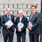 Dr Oisin O'Connell, vice-president of the Irish Hospital Consultants Association, with secretary general Martin Varley, president Dr Tom Ryan and vice-president Dr Roy Browne at Leinster House