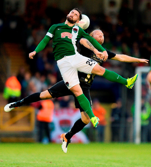 Seán Maguire of Cork City in action against Emil Wahlström of BK Hacken at Turner's Cross. Photo: Sportsfile