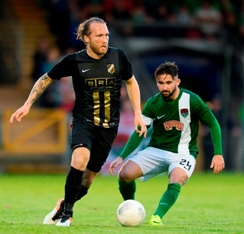 Emil Wahlström of BK Hacken in action against Seán Maguire of Cork City. Photo: Sportsfile