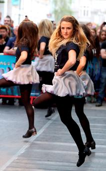 Performers at the 24-hour Irish Dance-athon outside the Gaiety Theatre for the Irish Hospice Foundation. Photo: Jason Clarke