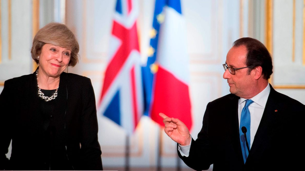 Prime Minister Theresa May holds a joint news conference with French President Francois Hollande at the Elysee Palace, Paris. Photo: Stefan Rousseau/PA Wire